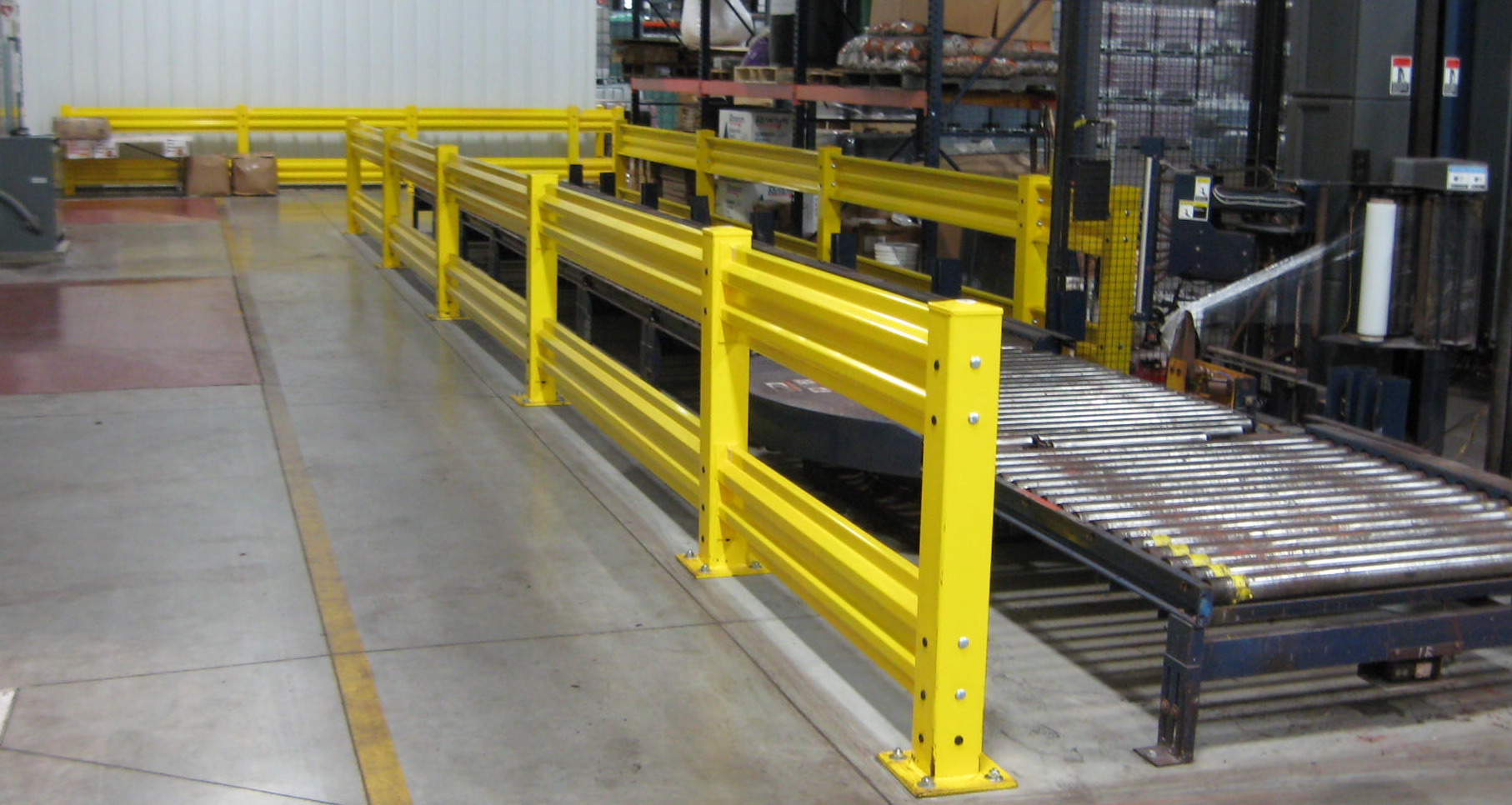 Warehouse barriers steel guard rails and industrial